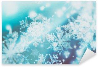 Sticker Pixerstick Shimmering spots de flou sur fond abstrait. Motif de flocons de neige