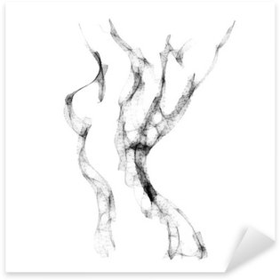Pixerstick Sticker Silhouet van mooie vrouw naakt vector illustratie