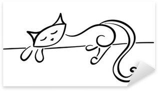 Silhouette of a lying black cat Sticker - Pixerstick