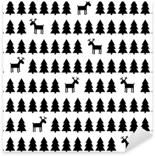 Sticker Pixerstick Simple, rétro seamless noir et blanc de Noël - cerfs, des arbres de Noël. Bonne fond du Nouvel An. Vector design pour des vacances d'hiver.