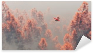 Sticker - Pixerstick Single engine airplane over autumn pines in the mist.