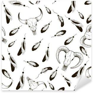 Sticker - Pixerstick Sketch pens and sheep skull cow pattern