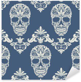 Skull Swirl Decorative Pattern Sticker - Pixerstick