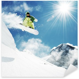 Pixerstick Sticker Snowboarder bij sprong inhigh bergen