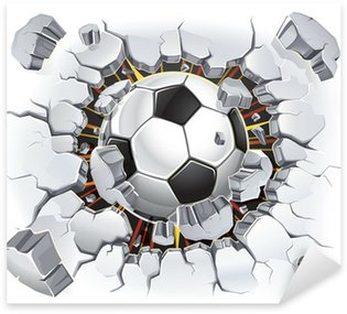Soccer ball and Old Plaster wall damage. Vector illustration Sticker - Pixerstick