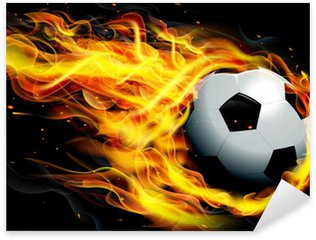 Soccer Ball on Fire Sticker - Pixerstick