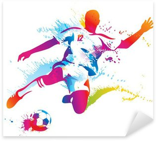 Soccer player kicks the ball. The colorful vector illustration Sticker - Pixerstick