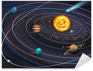 Sticker - Pixerstick Solar System: 9 planets with moons on their orbits and Comet.