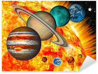 Sticker - Pixerstick Solar System: the comparative size of the planets and Sun.