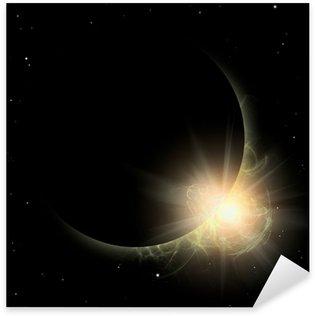 Some silhouette Planet in yellow sun. Solar spot prominence. Sticker - Pixerstick