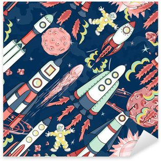 spaceship seamless pattern Pixerstick Sticker