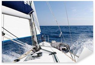 Sticker - Pixerstick Speed sailing yacht in the sea