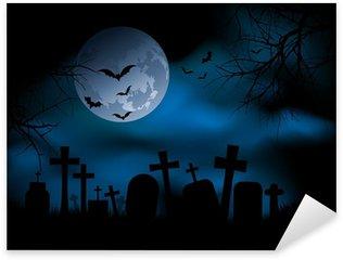 Sticker - Pixerstick Spooky graveyard on Halloween night
