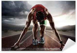 Sticker - Pixerstick Sports background. Runner.