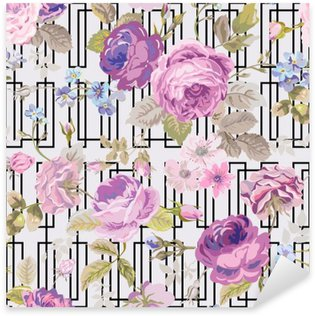 Pixerstick Sticker Spring Flowers geometrie achtergrond - Seamless Floral Shabby Chic