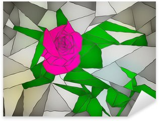 Sticker Pixerstick Stained glass rose