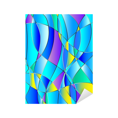 Stained glass texture, blue tone, background vector ...