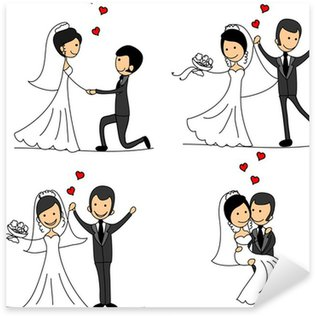 Pixerstick Sticker Stel bruid en bruidegom cartoon