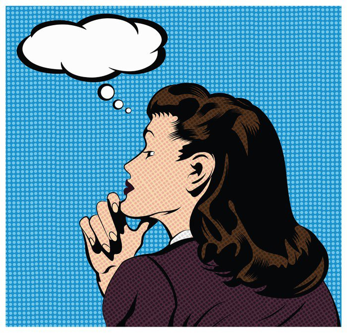 Sticker - Pixerstick Stock Vector : Illustration of a thinking woman - Themes
