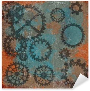 Pixerstick Sticker Stoom punk grunge achtergrond met klok wheels__