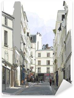 Pixerstick Sticker Straat in de buurt van Montmartre in Parijs