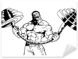 strong bodybuilder flexes heavy barbell Sticker - Pixerstick