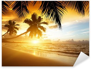Sticker - Pixerstick sunset on the beach of caribbean sea