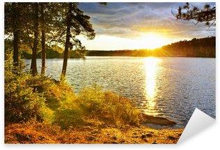 Sunset over lake Sticker - Pixerstick