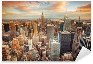 Pixerstick Sticker Sunset uitzicht op New York City kijkt uit over het centrum van Manhattan