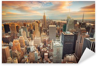 Sunset view of New York City looking over midtown Manhattan Sticker - Pixerstick