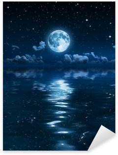 Sticker - Pixerstick super moon and clouds in the night on sea