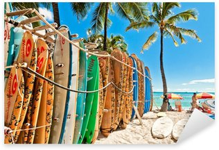 Surfboards in the rack at Waikiki Beach - Honolulu Sticker - Pixerstick