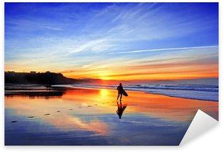 surfer in beach at sunset Sticker - Pixerstick