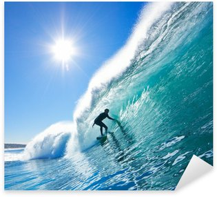 Surfer on Blue Ocean Wave Sticker - Pixerstick