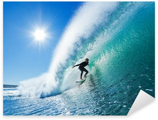 Pixerstick Sticker Surfer op Blue Ocean Wave
