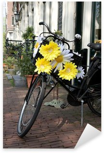 Sticker - Pixerstick Symbol of Amsterdam, bicycle decorated with flowers