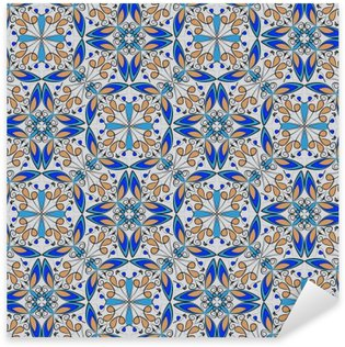 Sticker Pixerstick Tapis coloré oriental fins ou ornement en céramique aux couleurs orange et bleu avec des courbes blanches sur fond noir, vecteur de motifs géométriques symétriques