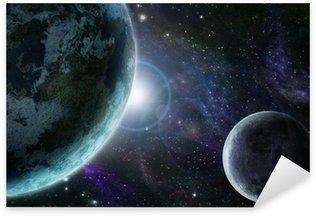 Sticker Pixerstick Terre planète bleue dans l'espace extra-atmosphérique