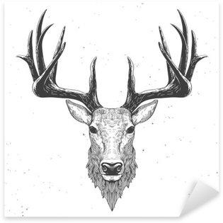 Sticker Pixerstick Tête de cerf sur blanc