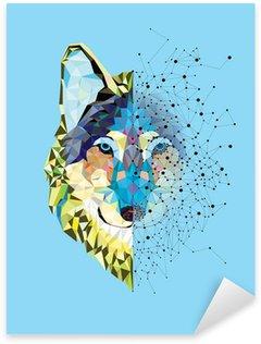 Sticker Pixerstick Tête Wolf en motif géométrique avec le vecteur de ligne étoile