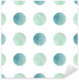 Sticker Pixerstick Texture d'aquarelle. Seamless. cercles d'aquarelle dans des couleurs pastel sur fond blanc. Les couleurs pastel et design délicat romantique. Motif de point de polka. Couleurs fraîches et de menthe.