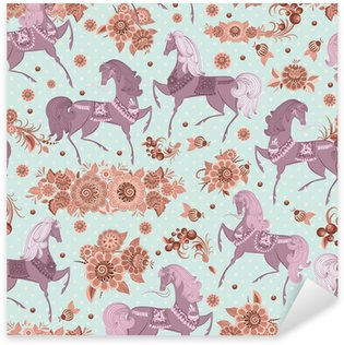 Sticker Pixerstick Texture homogène avec des chevaux dans les fleurs
