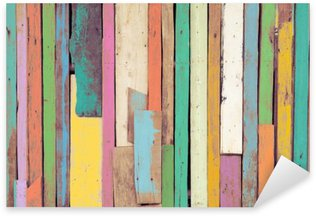The colorful artwork painted on wood material for vintage wallpaper background. Sticker - Pixerstick
