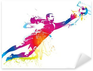 The football goalkeeper catches the ball Sticker - Pixerstick