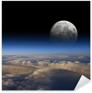 The Moon rises over planet Earth. Sticker - Pixerstick