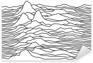 Sticker - Pixerstick The rhythm of the waves, the pulsar, vector lines design, broken lines, mountains
