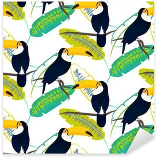Toco toucan bird on banana leaves seamless vector pattern on white background. Tropical jungle leaf and exotic bird sitting on branch. Sticker - Pixerstick