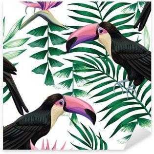 Sticker - Pixerstick toucan tropical pattern
