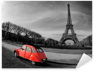 Sticker Pixerstick Tour Eiffel et voiture rouge-Paris
