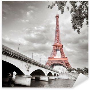 Sticker Pixerstick Tour Eiffel monochrome colorisation sélective